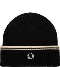 Шерстяная шапка мелкой вязки с отворотом Fred Perry