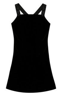 Платье из смеси вискозы и шелка с открытыми плечами Polo Ralph Lauren