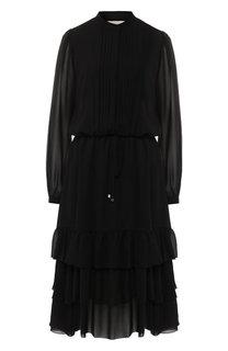 Платье-миди с оборками и воротником-стойкой MICHAEL Michael Kors