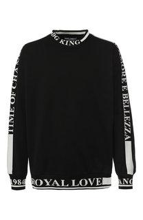 Хлопковый свитшот с контрастной отделкой Dolce & Gabbana