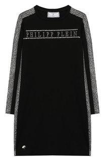 Хлопковое платье со стразами Philipp Plein