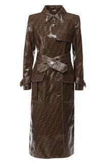 Двубортное пальто с поясом и логотипом бренда Fendi
