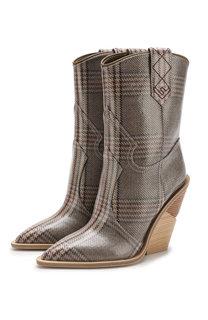 Кожаные сапоги на устойчивом каблуке Fendi