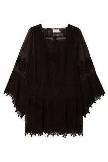 Черное платье с кружевной отделкой Zimmermann