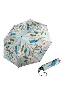 """Серый складной зонт с принтом """"Роща"""" Goroshek"""