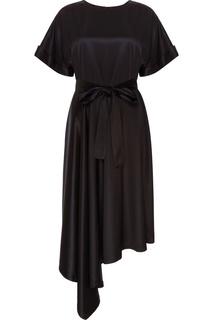 Черное платье с поясом Seamore