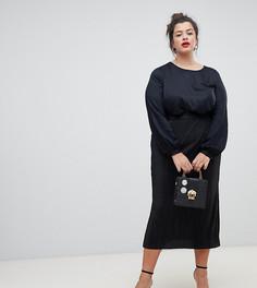 Черная плиссированная юбка миди River Island Plus - Черный