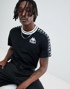 Черная футболка с фирменной лентой и вышивкой на груди Kappa - Черный