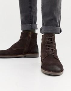 Замшевые ботинки на крепированной подошве Selected Homme - Коричневый