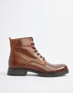 Кожаные ботинки на шнуровке Jack & Jones - Коричневый