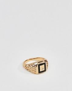 Золотистое кольцо-печатка в винтажном стиле с эмалью и кристаллами ASOS DESIGN - Золотой
