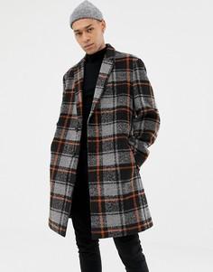 Черное пальто из ткани с добавлением шерсти в оранжевую клетку ASOS DESIGN - Черный