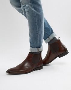 Коричневые кожаные ботинки челси Dune - Коричневый