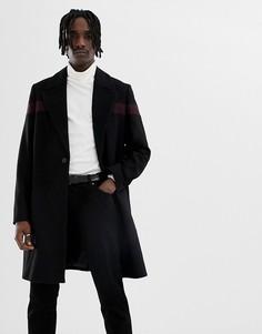 Черное пальто с добавлением шерсти ASOS DESIGN - Черный