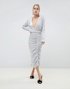 Серебристое платье миди Lavish Alice - Серебряный