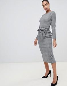 Платье миди в клетку с поясом ASOS DESIGN - Мульти