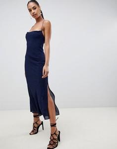 Платье миди с флоковым узором в горошек Finders Secrets - Темно-синий