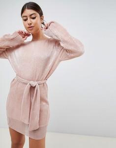 Телесное платье-футляр с пайетками и поясом Club L - Бежевый