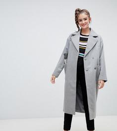 Серое длинное пальто из переработанной шерсти Monki - Серый