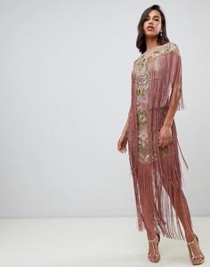 Платье миди с вышивкой и бахромой ASOS EDITION - Розовый