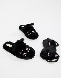 Черные слиперы с котами и маска для сна Head Over Heels by Dune Figaro - Черный