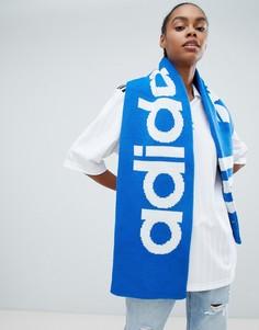 Синий шарф с логотипом-трилистником adidas Originals - Красный