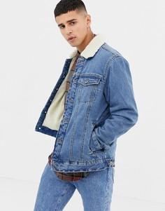 Джинсовая куртка на подкладке из искусственного меха D-Struct - Светло-бежевый