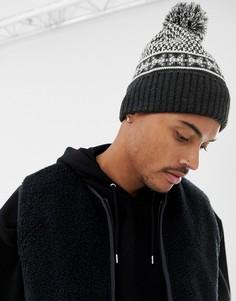 Серая шапка-бини с помпоном и узором Фэйр-Айл ASOS DESIGN - Серый