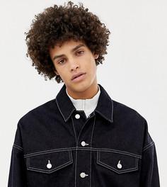 Темно-синяя джинсовая куртка с контрастной строчкой Noak - Темно-синий