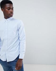 Синяя облегающая оксфордская рубашка с логотипом Abercrombie & Fitch - Синий