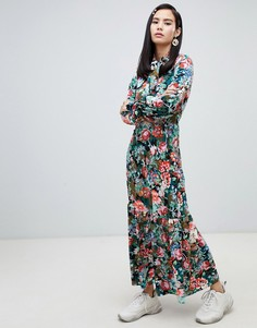 Синее платье макси с высоким воротом и цветочным принтом Monki - Мульти