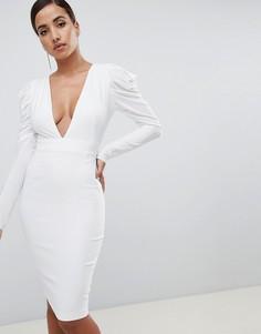 Белое платье миди со сборками и глубоким вырезом Vesper - Белый