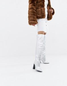 Серебристые кожаные ботфорты Morgan - Серебряный
