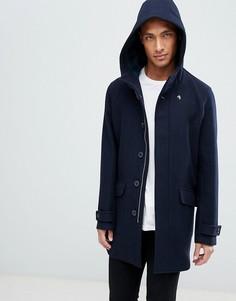 Темно-синее шерстяное пальто с капюшоном Farah Oxton - Темно-синий