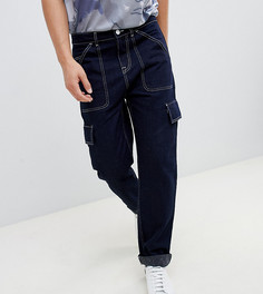 Темно-синие брюки карго прямого кроя с белыми строчками Noak - Темно-синий