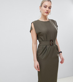 Платье-футляр миди с разрезами на рукавах и поясом ASOS DESIGN Petite - Зеленый