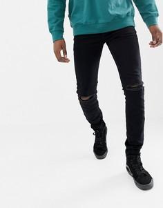 Черные джинсы скинни с рваной отделкой Sixth June - Черный