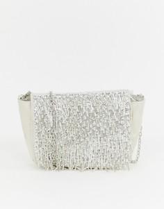 Сумка на плечо с ремешком-цепочкой и бахромой из бусин New Look - Кремовый