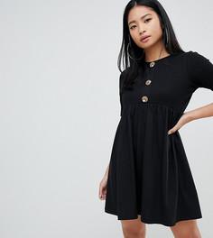 Свободное платье мини с пуговицами ASOS DESIGN Petite - Черный