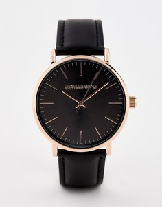 Черные часы с золотисто-розовым корпусом ASOS DESIGN - Черный