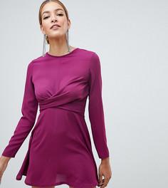 Фиолетовое короткое приталенное платье с перекрученной отделкой Boohoo - Фиолетовый