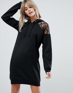 Трикотажное платье-худи с кружевной отделкой ASOS DESIGN - Черный
