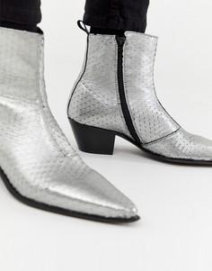 Серебристые кожаные ботинки челси в стиле вестерн ASOS DESIGN - Серебряный