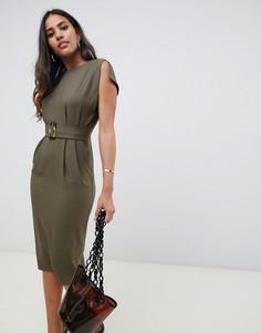 Платье-футляр с короткими рукавами и разрезами ASOS DESIGN - Зеленый