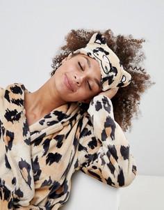 Маска для сна с леопардовым принтом и ушами ASOS DESIGN - Мульти