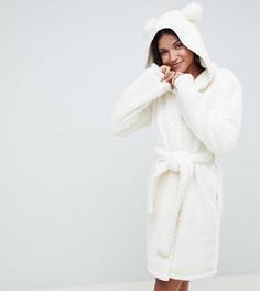 Мягкий халат с отделкой помпонами ASOS DESIGN Tall - Кремовый