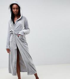 Мягкий флисовый халат с контрастной подкладкой ASOS DESIGN Tall - Серый