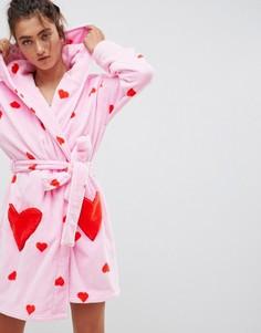 Халат с принтом сердец ASOS DESIGN - Розовый