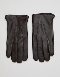 Коричневые кожаные перчатки для сенсорных гаджетов ASOS DESIGN - Коричневый