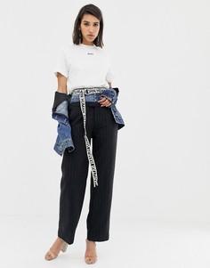 Шерстяные брюки в тонкую полоску с поясом из денима Miss Sixty - Серый
